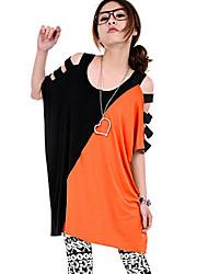 Damen T-Shirt - Loch Kunstseide Kurzarm U-Ausschnitt