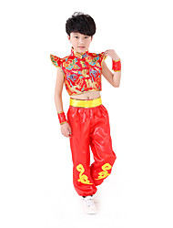 Performance Outfits Children's Performance Matte Satin Appliques 2 Pieces Red / Yellow