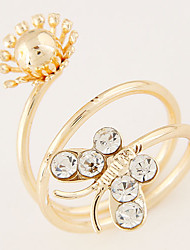 European Style Fashion Shiny Rhinestone Butterfly Flower Sweet Statement Ring