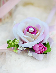 Wedding Flowers Hand-tied Roses Wrist Corsages Wedding Party/ Evening Cotton Silk