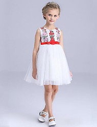 Girl's White Dress Rayon Summer