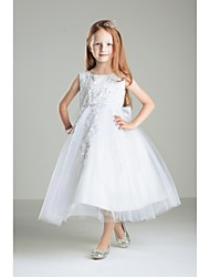 Ball Gown Tea-length Flower Girl Dress-Tulle / Polyester Sleeveless