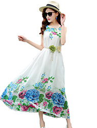 2016 Summer New Women's Bohemian Beach Chiffon Flower Print Dress