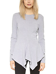 Women's Solid Gray T-shirt,Round Neck Long Sleeve