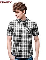 Trenduality® Hommes Col de Chemise Manche Courtes Shirt et Chemisier Noir et blanc-82033