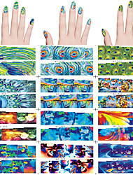 12 PCS Nail Art Water Transfer Sticker 12 Different PCS/Set Peacock Feathers ,Abstract Designs