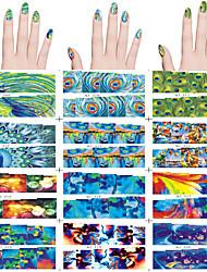 12 pcs arte do prego de transferência de água da etiqueta 12 pcs / set penas do pavão, design abstrato diferentes