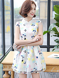Women's Casual/Daily Cute A Line Dress,Print Shirt Collar Mini Short Sleeve White Polyester Summer