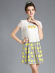 el vestido del tamaño de las mujeres aofuli bordado una línea de ver a través de dos piezas falso remiendo de la impresión