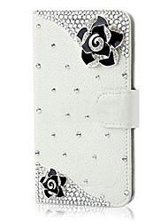 Pour Coque iPhone 5 Porte Carte Strass Avec Support Clapet Coque Coque Intégrale Coque Fleur Dur Cuir PU pour iPhone SE/5s/5