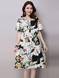 Women's Vintage Print Loose Dress,Round Neck Knee-length Polyester