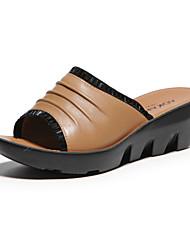 Aokang Women's Suede Platform Slippers