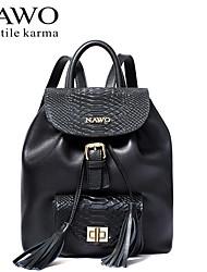 NAWO Women Cowhide Backpack Black / Burgundy-N654031