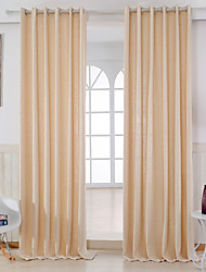 Two Panels Curtain Modern , Solid Bedroom Linen/Polyester Blend Material Curtains Drapes Home Decoration For Window