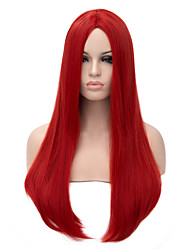 Long Length Red Color Straight Hair European Weave Synthetic Wig