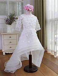 A-line Asymmetrical Flower Girl Dress - Organza Half Sleeve Jewel with
