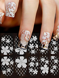 Lovely Lace Diamond White Nail Jewelry