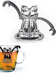 Cartoon Frog Shape Tea Strainer Tea Infuser with Mini Plate Stainless Steel