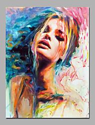 Pintados à mão Pessoas / TransparenteModerno 1 Painel Tela Pintura a Óleo For Decoração para casa