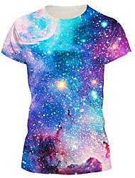 Damen Galaxis Einfach / Street Schick Lässig/Alltäglich T-shirt,Rundhalsausschnitt Sommer Kurzarm Blau Nylon / Elasthan Mittel