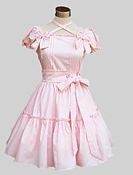 Une Pièce/Robes Doux Lolita Cosplay Vêtrements Lolita Rose Bleu Couleur Pleine Papillon Manches Courtes Moyen Robe Pour Coton