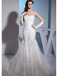 Trumpet/Mermaid Wedding Dress-Ivory Court Train Sweetheart Organza / Satin