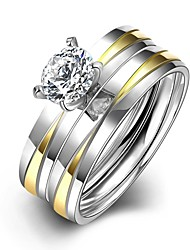 New Fashion Unisex's Gold-Silver Stripes White Zircon Gold-Plated Titanium Steel Set Rings(Gold-Silver)(1Set)