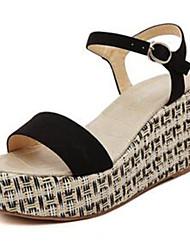 Women's Shoes Denim Wedge Heel Wedges / Open Toe Sandals Outdoor / Casual Black / Red