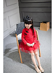 Kid Princess Series Costumes Long Sleeve Cute and Cuddly Costumes Dress Cheongsam Red