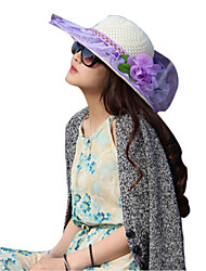 Women Lace / Straw Color Block Flowers Floppy Hat,Cute / Party / Casual Spring / Summer / Fall