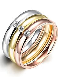 2016 Luxury Zircon Noble 3 Color Titanium Steel Fashion Ring Set For Women Gift