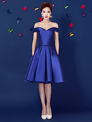 Cocktail Party Dress-Royal Blue Ball Gown Off-the-shoulder Knee-length Satin