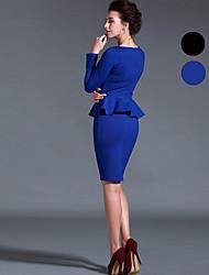 Baoyan® Femme Col Arrondi Manche Longues Au dessus des genoux Robes-14657