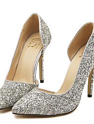 Серебристый / Золотистый-Женская обувь-Свадьба / Для вечеринки / ужина-Дерматин-На шпильке-На каблуках-Обувь на каблуках