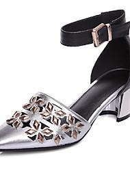 Women's Shoes Leather Chunky Heel Heels / Ankle Strap / Pointed Toe Sandals Office & Career / Party & Evening / Dress