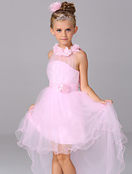 A-line Asymmetrical Flower Girl Dress - Cotton / Satin / Tulle Sleeveless Halter with
