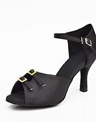 Women's Dance Shoes Salsa Satin Flared Heel Black