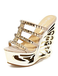 Women's Shoes Synthetic Wedge Heel Peep Toe / Platform Sandals Dress / Casual Silver / Gold