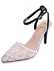 Women's Shoes Lace Stiletto Heel Heels / Pointed Toe Heels Party & Evening / Dress / Casual Black / White