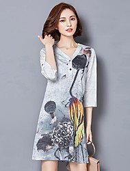 2016 Summer Women Chinese Style Retro Fashion Loose Ink Print Dress