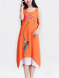 Women's Simple Floral / Patchwork Elegant Loose Thin Dress , Round Neck Asymmetrical Fake Two Cotton / Linen