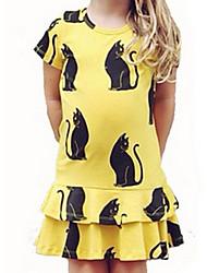 Girl's Yellow Dress,Dot Cotton Summer