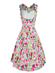 Women's Vintage Floral A Line Dress,Asymmetrical Knee-length Polyester
