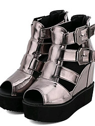Women's Shoes Leatherette Wedge Heel Wedges Sandals Outdoor / Casual Black / Silver