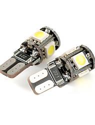 exled t10 1W 80lm 5-smd 5050 weißes Licht Auto Abstandslampe führte (12v / pair)