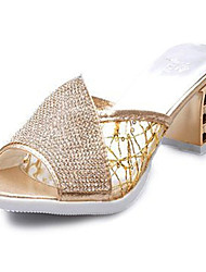 Women's Shoes Synthetic Chunky Heel Slippers Sandals / Slippers Outdoor / Dress Silver / Gold