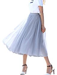 Mulheres Saias Médio Moda de Rua Rayon Sem Elasticidade Mulheres