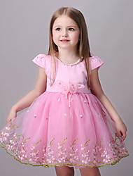 Girl's Pink Dress,Floral / Lace Rayon Summer
