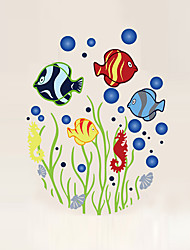 Wall Stickers Wall Decals Style Underwater World Toilet PVC Wall Stickers