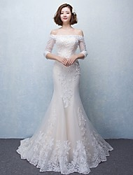 Trumpet / Mermaid Wedding Dress Sweep / Brush Train Off-the-shoulder Tulle with Appliques / Beading / Lace